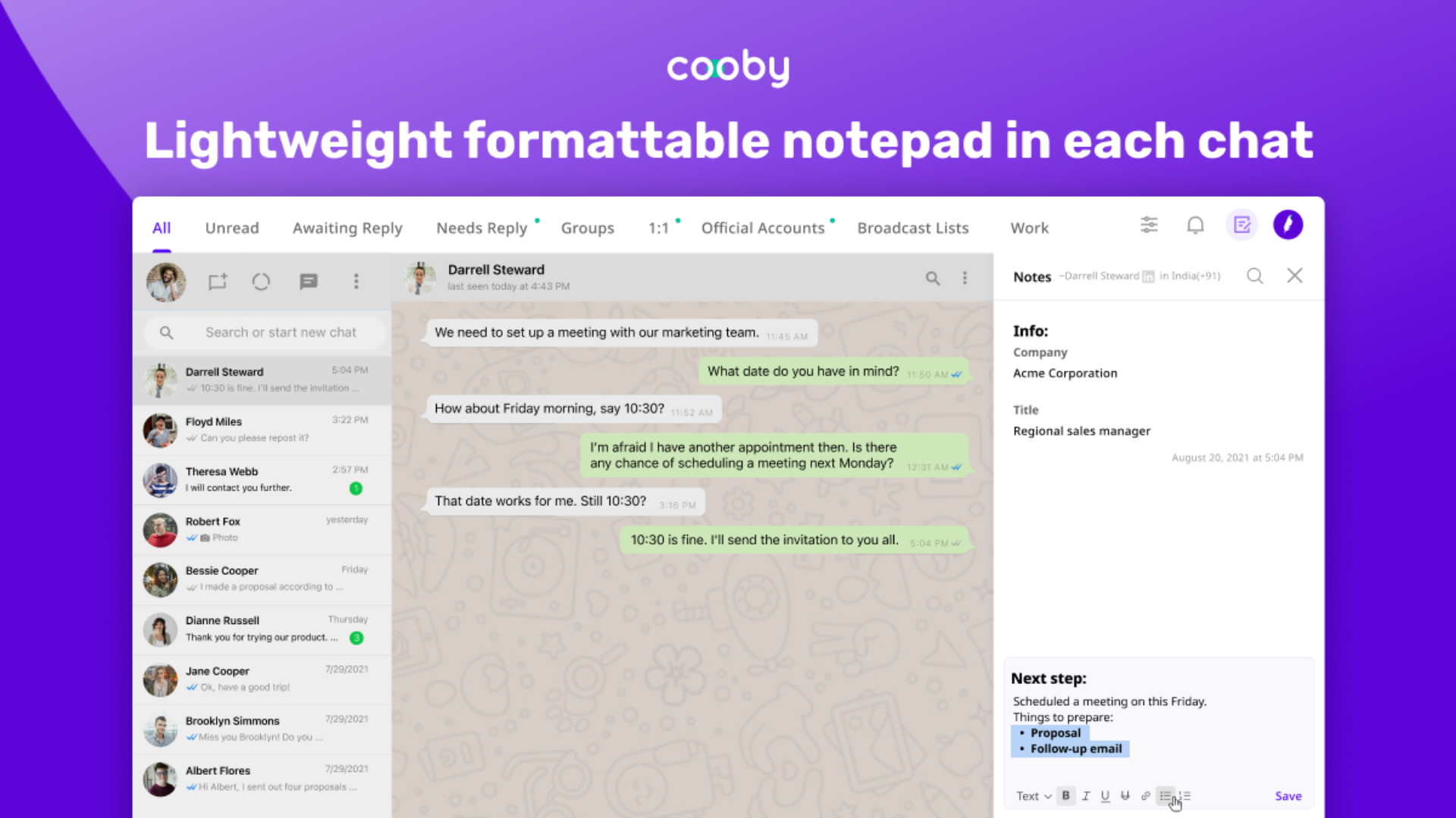 Cooby: Supercharge whatsapp for work