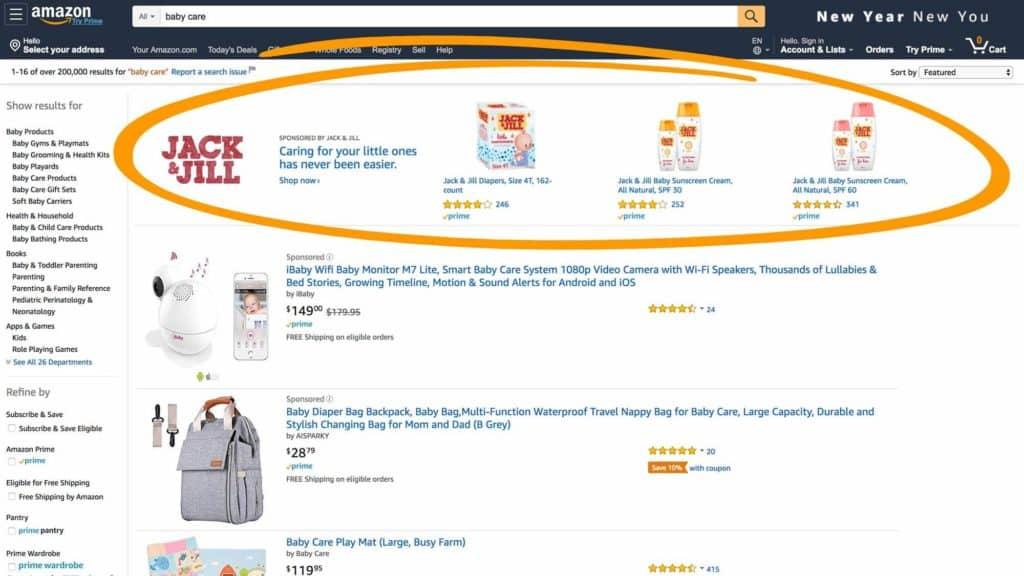 Amazon sponsored ad example