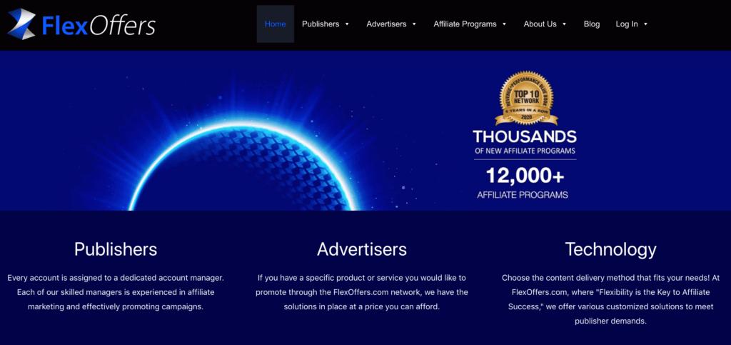 FlexOffers homepage screenshot